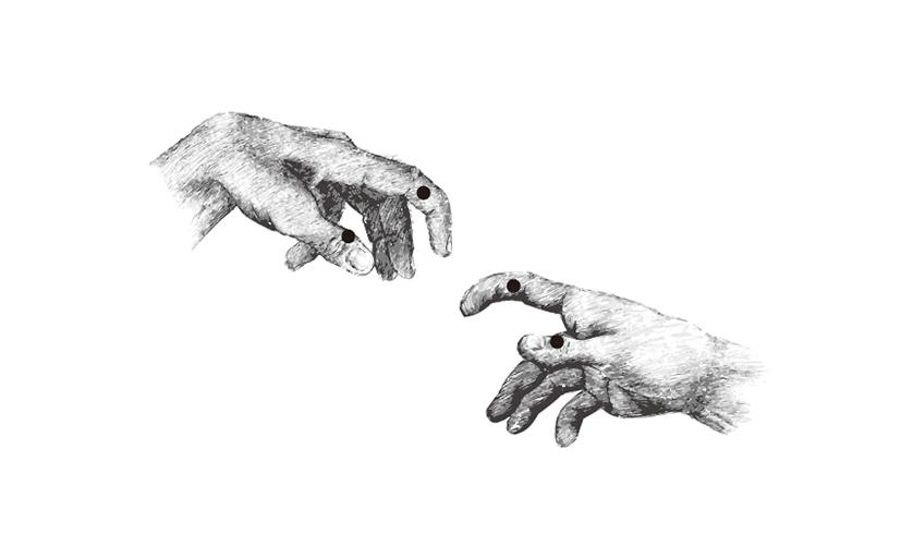 ペンホルダーの親指支点と人差し指支点